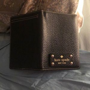 Kate Spade Black Passport Cover with Pink Lining